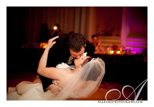 boston-downtown-hyatt-regency-wedding- amazing dip at the end of the first dance with a big kiss by groom to bride