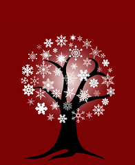 Winter Tree with Snowflakes (David Gn Photography) Tags: christmas winter holiday snow tree illustration night festive season happy snowflakes glow branches roots drawings invitation merry greetingcard occasion joyous yuletide redbackground