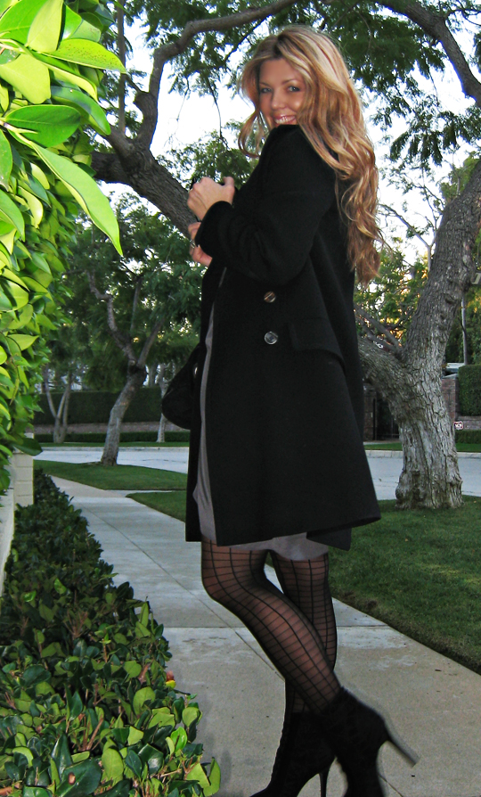 black and gray+winter coat+vintage long black coat with grid stockings and gray silk dress+light