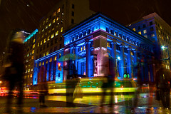 Tonight in Vancouver: Ghosts in the City ([Rikki] Julius Reque) Tags: city longexposure canada wet rain vancouver buildings bc britishcolumbia silhouettes birksbuilding canon50d juliusrequecom