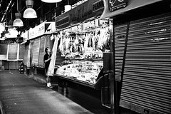 Closing Time (Sami T (currently traveling)) Tags: barcelona bw film 50mm spain pentax k1000 hp5 ilford boqueria