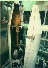 Integration of the Ginga satellite into its launch rocket