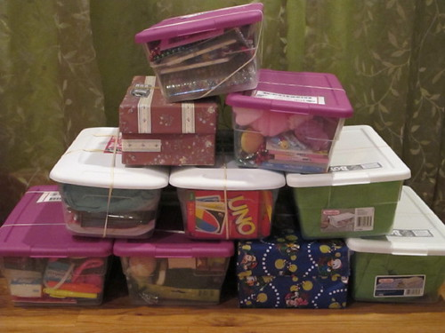 All the shoeboxes from church