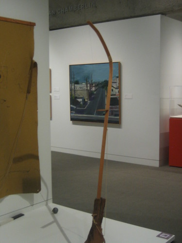 Installation at the front: How to Charter a Coarse, 1971, Mixed Media, William T. Wiley // Painting at the back: Stree, 1961, Oil on Canvas, Richard Diebenkorn, Oakland Museum of California _ 9604