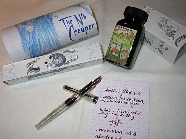 Noodler's Nib Creaper With Black Swan In Australian Roses Ink