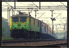 2952 New Delhi Mumbai Rajdhani Express (Vishal Khare) Tags: train india irfca indianrailways 2952 new delhi capital city mumbai maharashtra rajdhani express western railway king duronto livery mamata bannerjee ghaziabad uttar pradesh wap7 30246 ratlam vadodara gujarat run ac electric platform tracks canon powershot sx10 is pragati maidan curve tilak bridge fast long mps gradient evening sealdah west bengal raj bang time departure