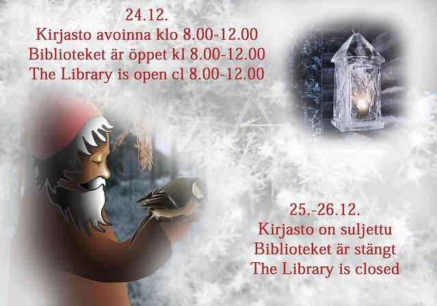 joulun aukioloajat Entressen kirjastossa