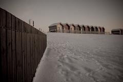 Blythe beach in the snow (Swaffs) Tags: sea moon snow beach newcastle landscape waves chalet blythe groyne uksnow