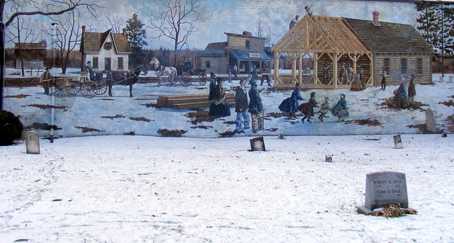 Mural of winter scene, Highland Creek