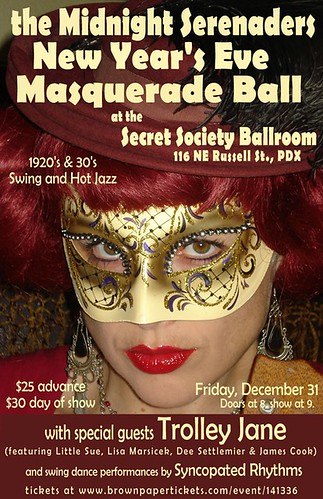 December 31: Portland New Year's Eve Masquerade Ball With Swing Sextet The Midnight Serenaders @ Secret Society Ballroom