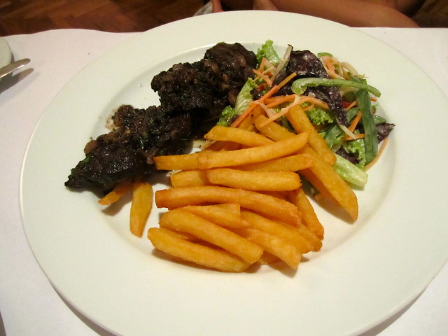 US Black Angus Beef Onglet with Roasted Shallots, Fries and Salad
