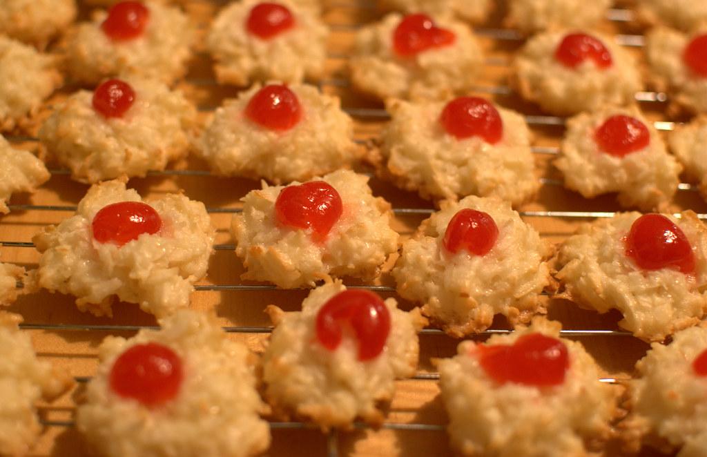 Coconut Macaroons with Maraschino Cherries