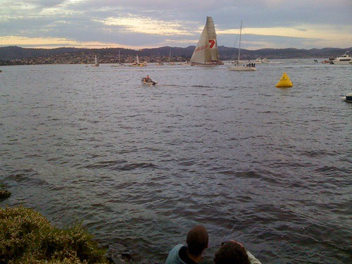 Watching wild oats come into Hobart, end of Sydney to Hobart race