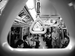 Tokyo Subway - 4 (Luca Rossini) Tags: bw black station japan train canon subway japanese tokyo workers waiting metro 100v10f powershot suit riding g11