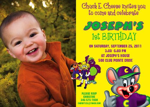 Chuck E Cheese Custom Birthday Invitation a photo on Flickriver – Chuck E Cheese Birthday Invitation Wording