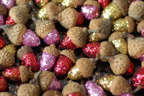 Glittered acorns.
