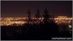 Vancouver Skyline at Night (Michael Kwan (Freelancer)) Tags: city bridge mountain canada skyline night vancouver cityscape cypress olympusepl1