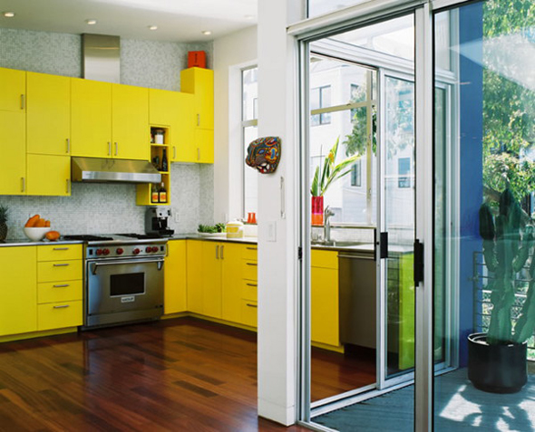 modern yellow kitchen set theme design