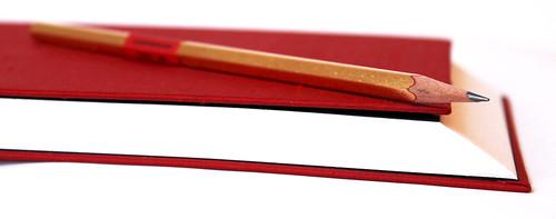 22 Karat Feingold - vergoldeter Bleistift und BuBu-Neujahrsbuch mit 45-Grad-Vorderschnitt