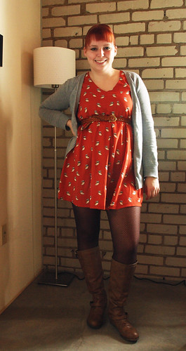 owl dress brown boots