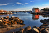 Prospect Gold (sminky_pinky100 (In and Out)) Tags: travel blue red sea canada tourism water landscape boats golden rocks novascotia coastal shack prospect fishingvillage omot cans2s