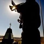 A Bugler Sounds the Last Post at Camp Bastion, Afghanistan During Remembrance Day Service thumbnail