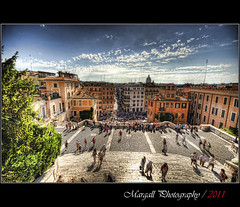 Cityscape of Rome - Piazza di Spagna - Via Condotti - Trinita' dei Monti - Roma (Margall photography) Tags: people rome roma canon photography cityscape 10 sigma via di marco piazza 20 hdr dei spagna monti 30d scalinata condotti trinita galletto margall mygearandmepremium