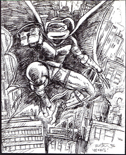 "Kevin Eastman's ""TEENAGE MUTANT NINJA TURTLES"" Artobiography :: Ninja Turtles: The Next Mutation ..""Venus"" concept art (( 1996 ))"