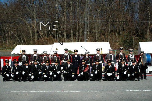 Me with the Musahinoyamamurashi Fire Brigade where we played trumpet