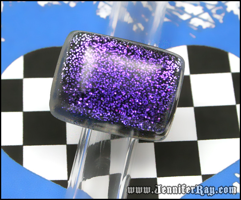 Glittery Grape Ring - Large Rectangle Purple Resin Silver Ring