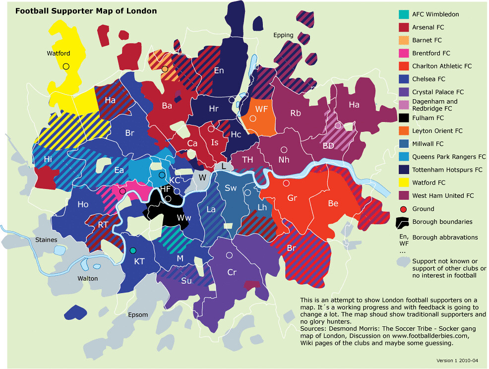 A London football map If youre a Londoner this maps shows you
