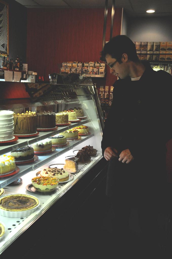examining desserts