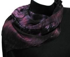 Women's Silk Scarf, Raspberry, Red Plum, Purple and Black (sorkah) Tags: red black scarf hand purple silk plum womens raspberry scarves dyed raspberrysorbet redplum crepedechine