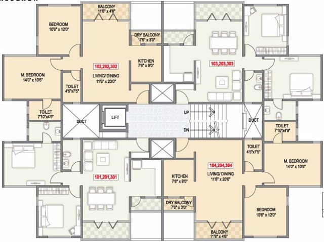 Apartment 2 Bedroom Flats Building Plans