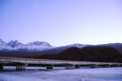 Knik River Bridge (JSB_Photography) Tags: bridge sunset moon alaska river nikon knik d3000 jsbphotography