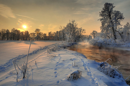 golden winter sunrise