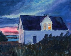 Star Island sunset - painting (Pilgrim on this road - Bill Revill) Tags: painting acrylic newhampshire isleofshoals starisland revill billrevill