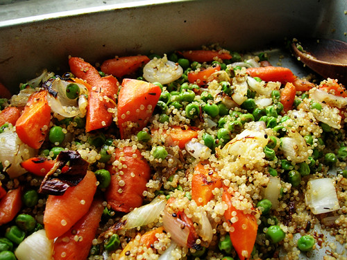 quinoa with roasted carrots, shallots, and peas