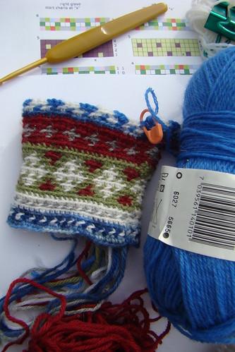 jacquard crochet fingerless wip
