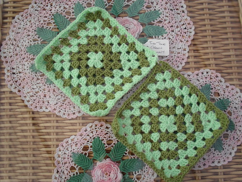 2 - Two Tone Green Traditional Granny Squares for our Challenge.