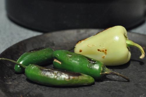 Peppers roasting on Camal