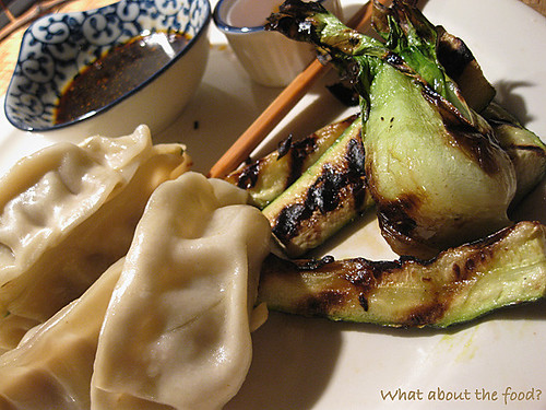 Pot stickers & Grilled Bok Choy