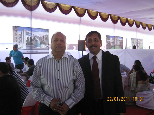 Visit to Neo City 1 BHK & 2 BHK Flats at Wagholi Pune 411 027 - Mr. Vijay Jalan (in suit) and his elder brother at the site