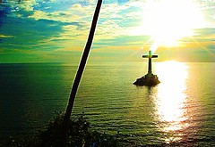 cross in sea