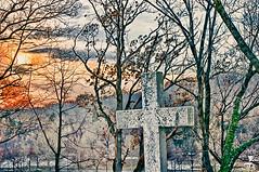 sunset at the cemetery (rosserx) Tags: trees winter sunset philadelphia cemetery cross pentaxkx laurelhillcemetery