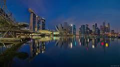 Marina Bay Panorama (Martin Yon) Tags: morning bridge panorama reflection skyline singapore cbd helix mbs asm marinabay 5dmk3