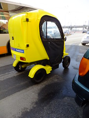Small, yellow... (stevenbrandist) Tags: italy yellow italia genoa genova delivery vehicle posteitaliane quadracycle freeduck ducatienergia