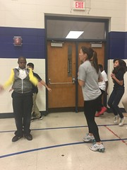 Coach Sharon at IPS #60 leading 5th and 6th graders through one of our KRAZY circuits!