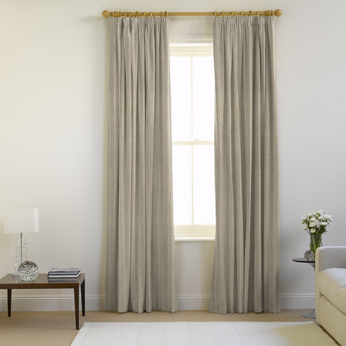 Cotton lined pencil pleat curtains in chalk flax fabric