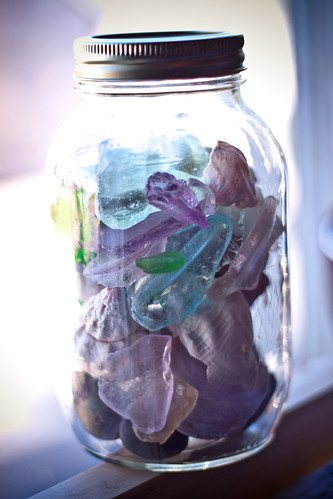 made a jar for the things we found on the rocky beaches on Winter Harbor, Maine